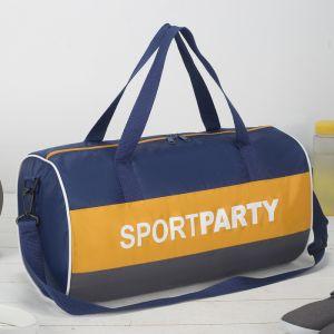 Сумка спортивная, отдел на молнии, длинный ремень, цвет синий/жёлтый