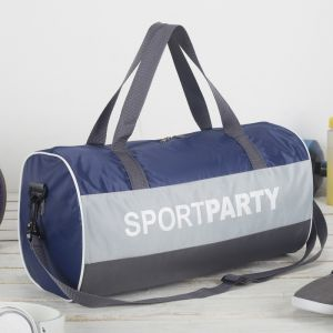 Сумка спортивная, отдел на молнии, длинный ремень, цвет синий/серый/чёрный