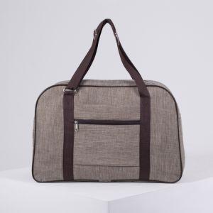 Сумка дорожная, ручная кладь, ручная кладь, отдел на молнии, наружный карман, крепление для чемодана, цвет бежевый