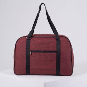 Сумка дорожная, ручная кладь, отдел на молнии, наружный карман, крепление для чемодана, цвет бордовый