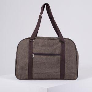Сумка дорожная, ручная кладь, отдел на молнии, наружный карман, крепление для чемодана, цвет коричневый