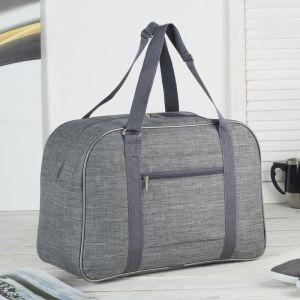 Сумка дорожная, отдел на молнии, наружный карман, крепление для чемодана, цвет серый