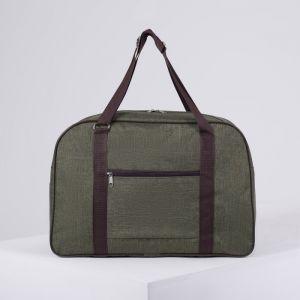 Сумка дорожная, ручная кладь, отдел на молнии, наружный карман, крепление для чемодана, цвет хаки