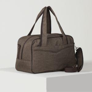 Сумка дорожная, отдел на молнии, 2 наружных кармана, длинный ремень, цвет коричневый