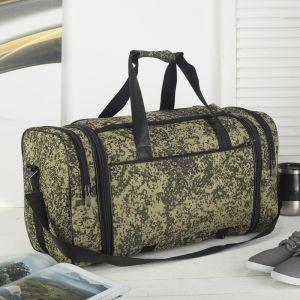 Сумка дорожная, отдел на молнии, 3 наружных кармана, с увеличением, длинный ремень, цвет хаки