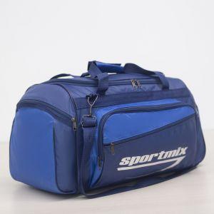 Сумка дорожная, ручная кладь, отдел на молнии, 3 наружных кармана, длинный ремень, цвет синий