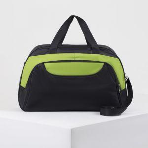 Сумка дорожная, отдел на молнии, наружный карман, длинный ремень, цвет чёрный/зелёный