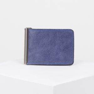 Зажим для купюр с металлическим держателем, цвет синий