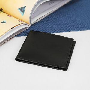 Портмоне, 1 отдел, для карт, гладкий, цвет чёрный