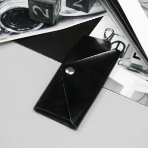 Ключница, отдел на клапане, карабин, цвет чёрный