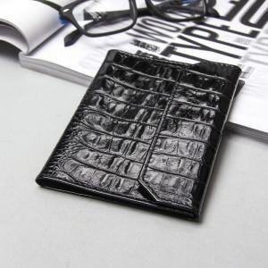 Обложка для паспорта и документов на кнопке, кайман, цвет чёрный