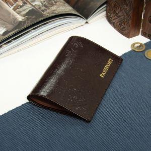Обложка для паспорта, глянцевый, цвет коричневый
