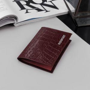 Обложка для паспорта, тиснение, крокодил, цвет бордовый