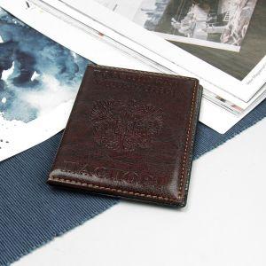 Обложка для паспорта, тиснение герб, прошитый, цвет бордовый