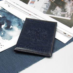 Обложка для паспорта, прошитый, герб, цвет тёмно-синий