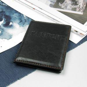 Обложка для паспорта, прошитый, цвет чёрный