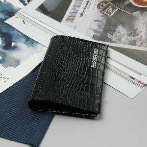 Обложка для паспорта, тиснение, крокодил, цвет чёрный