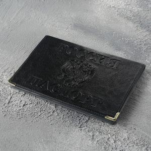 Обложка для паспорта, с уголками, цвет чёрный