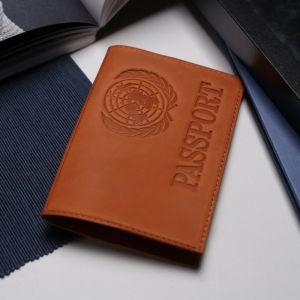 Обложка для паспорта, тиснение, латинские буквы, цвет рыжий