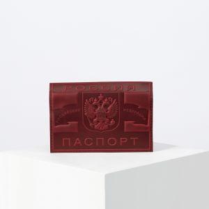 Обложка для паспорта, тиснение конгрев, цвет бордовый