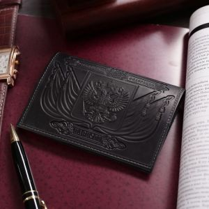 Обложка для паспорта, тиснение, герб, цвет чёрный