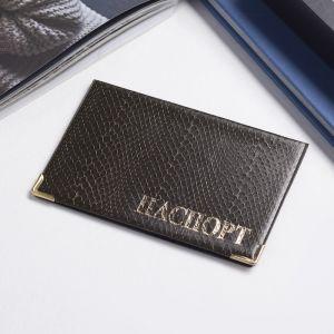 Обложка для паспорта, тиснение - золото, цвет коричневый