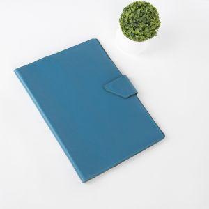 Папка для документов на кнопке, 4 комплекта, цвет синий