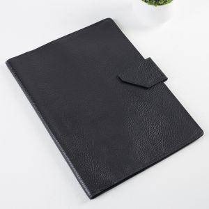 Папка для документов на кнопке, 4 комплекта, цвет чёрный