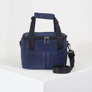 Сумка-термо, отдел на молнии, 2 наружных кармана, регулируемый ремень, цвет синий