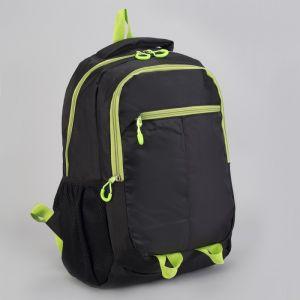 Рюкзак туристический, 2 отдела на молниях, наружный карман, 2 боковые сетки, усиленная спинка, цвет чёрный/зелёный