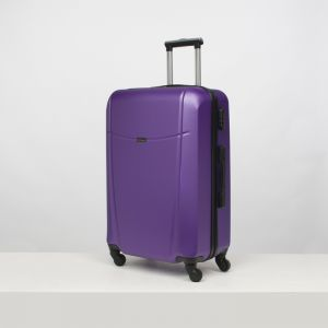 """Чемодан большой 26"""", отдел на молнии, кодовый замок, 4 колеса, цвет фиолетовый"""