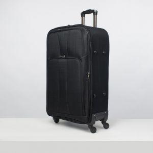 """Чемодан большой 28"""", отдел на молнии, 2 наружных кармана, кодовый замок, 4 колеса, цвет чёрный"""