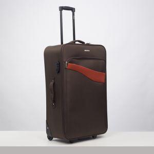"""Чемодан большой 28"""", отдел на молнии, наружный карман, кодовый замок, 4 колеса, цвет коричневый"""