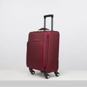 """Чемодан малый 20"""", отдел на молнии, наружный карман, кодовый замок, 4 колеса, цвет бордовый"""