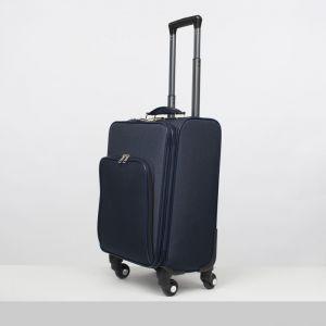"""Чемодан малый 20"""", отдел на молнии, наружный карман, кодовый замок, 4 колеса, цвет синий"""