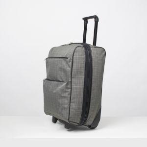 """Чемодан малый 20"""", отдел на молнии, с расширением, наружный карман, 2 колеса, цвет серый"""