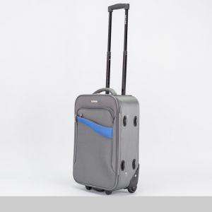 """Чемодан малый 20"""", отдел на молнии, наружный карман, 2 колеса, кодовый замок, цвет серый"""