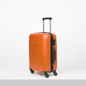 """Чемодан средний 22"""", отдел на молнии, кодовый замок, 4 колеса, цвет оранжевый"""