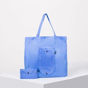 Сумка хозяйственная, складная, отдел без молнии, с карабином, цвет голубой