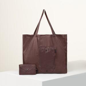 Сумка хозяйственная складная, отдел без молнии, наружный карман с карабином, цвет коричневый
