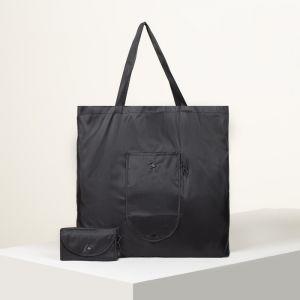Сумка хозяйственная складная, отдел без молнии, наружный карман с карабином, цвет чёрный