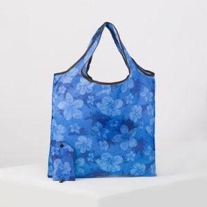 Сумка хоз складная Цветы, 36*0,5*36 см, 1 отдел, с карабином, синий   4494486