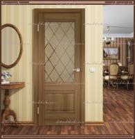 Межкомнатная дверь  ALTO 2V Остекленное Орех Золотой, стекло - Ромб бронза :