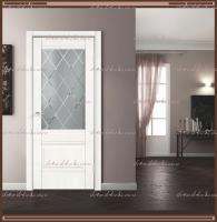 Межкомнатная дверь  ALTO 2V Остекленное Эмалит белый, стекло - Ромб светлый :