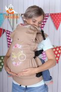 Эрго рюкзак Гусленок СТАНДАРТ с картинкой - Велосипед с цветами желтый 048 С Какао- беж лен