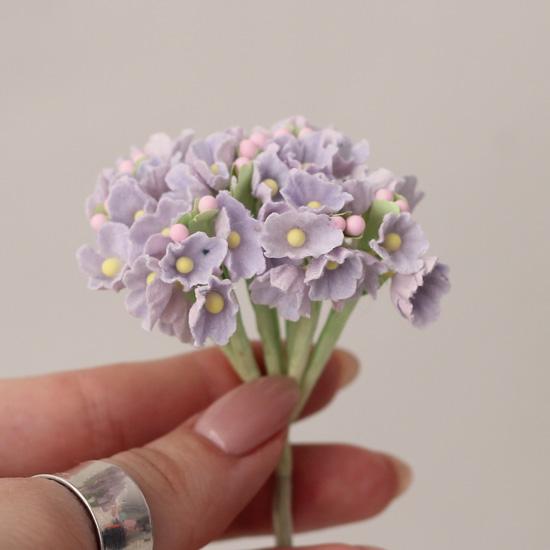 Букетик бумажных цветов, сиреневые - Кукольная миниатюра