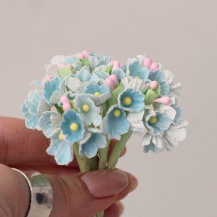 Букетик бумажных цветов, голубые - Кукольная миниатюра