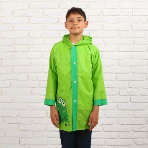 Дождевик детский «Зелёный лягушонок« на кнопках с капюшоном, L, рост 110-120 см