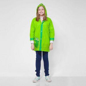 Дождевик детский «Зелёный лягушонок» на кнопках с капюшоном, М, рост 100-110 см