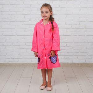Дождевик детский «Розовые бабочки» на кнопках с капюшоном, L, рост 110-120 см